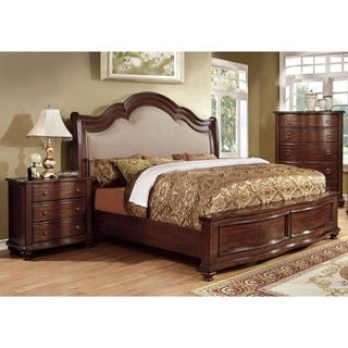 Furniture of America Ceres I Brown Cherry 2-Piece Bed with Nightstand Set