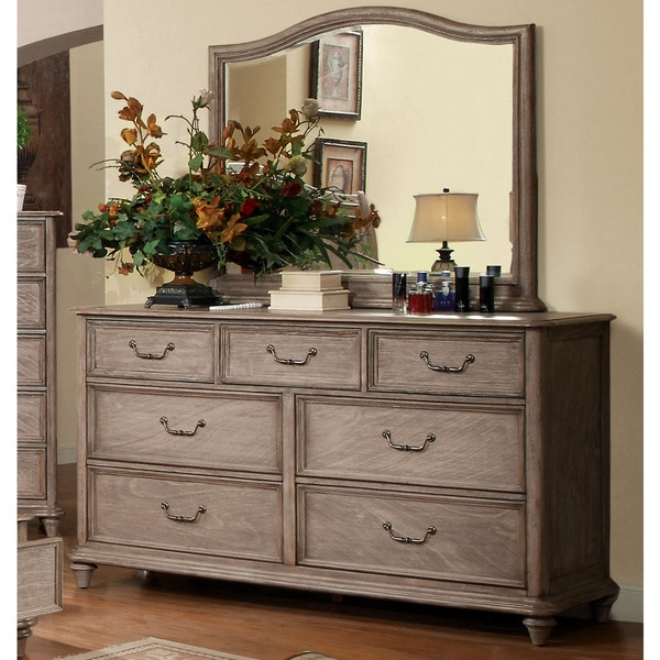 Furniture of America Minka Rustic Grey 2-piece Dresser and Mirror Set 15048088