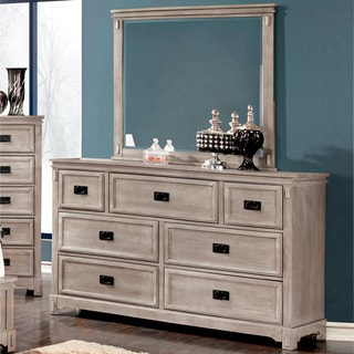 Furniture of America Godric Traditional 2-piece Dresser and Mirror Set