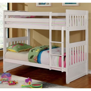 Furniture of America Raline Mission Style White Twin/ Twin Bunk Bed