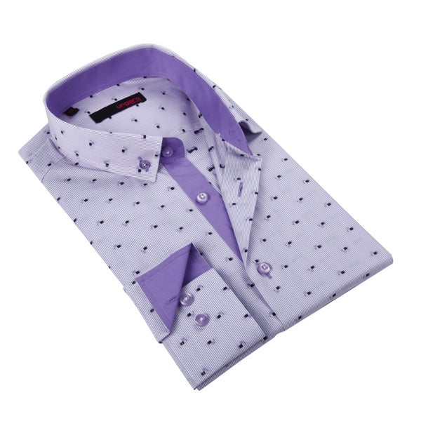 Ungaro Mens Stripe Purple/ White Cotton Dress Shirt
