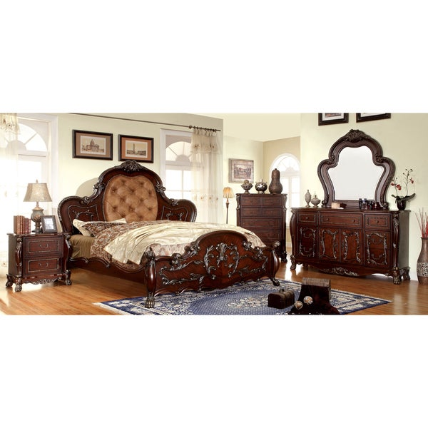 Of America Luxury Brown Cherry 4 Piece Baroque Style Bedroom Set