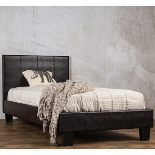Furniture of America Huntress III Brown Crocodile Leatherette Platform Bed