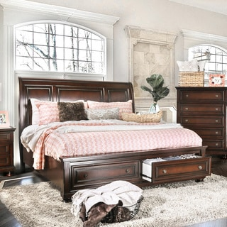 Furniture of America Barelle I Cherry Platform Bed with Footboard Drawers