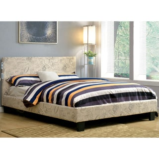 Furniture of America Britney Modern Ivory Upholstered Platform Bed with Bluetooth Speaker