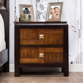 Furniture of America Anteia Duo-Tone Acacia and Walnut 2-Drawer Nightstand