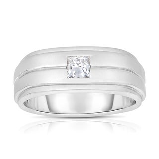 Eloquence 14k White Gold Men's 1/2ct TWD Princess-cut Solitaire Diamond Wedding Band (J-K, SI1-SI2)