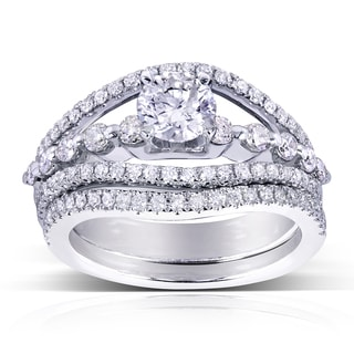 Annello 14k White Gold 1 1/3ct TDW Three Row Split Shank Diamond Bridal Set (H-I, I1-I2)