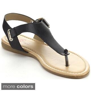 I HEART DALILAH-01 Women's Gladiator T-strap Flat Sandals