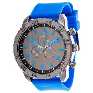 Zunammy Men's Black Case & Blue Dial with Blue Rubber Strap Watch