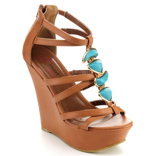 I HEART JACKY-15 Women's Strappy Platform Wedge Sandals w/Blue Rhinestones