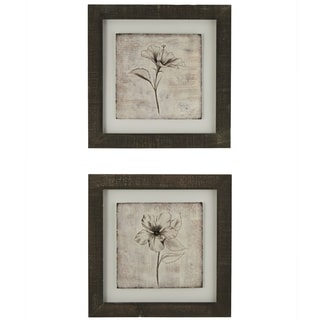 Sketch Flower Framed Giclee Print Wall Art with Glass (Set of 2)