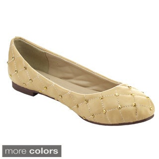 I HEART EMILY-04 Women's Quilted Ballet Flats with Studs