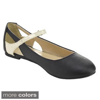 I HEART EMILY-01 Women's Ankle Strap Almond Toe Flats
