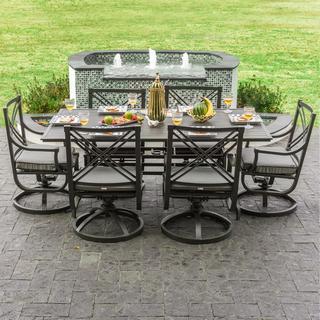Audubon Grey Aluminum 6-person Patio Dining Set with Swivel Rocking Chairs