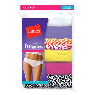 Hanes Women's No Ride Up Cotton Hipster Panties 6-Pack