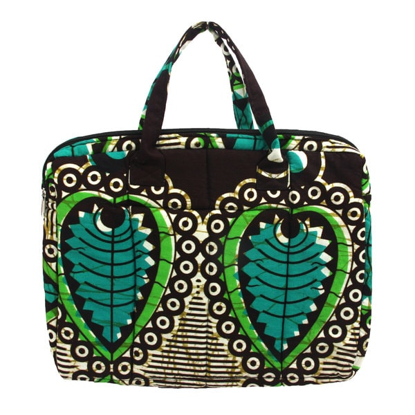 Fern Kitenge Fabric Laptop Bag