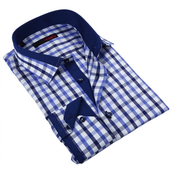 Ungaro Mens Plaid Blue/ White Cotton Button FrontDress Shirt