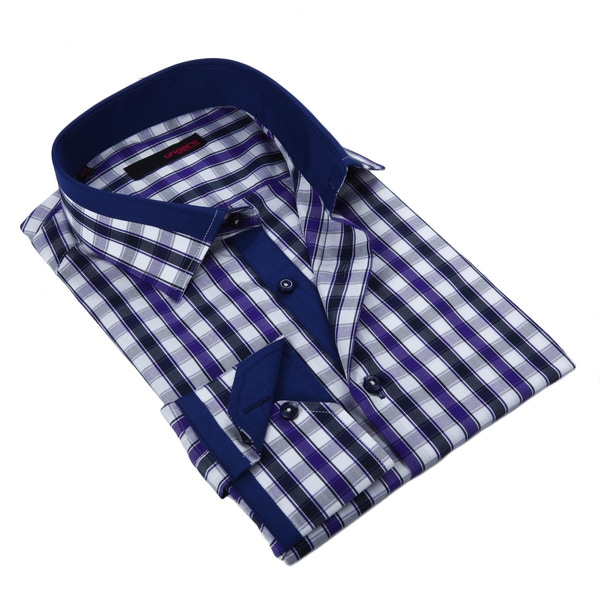Ungaro Mens Checkered Black Purple/ Blue Cotton Dress Shirt