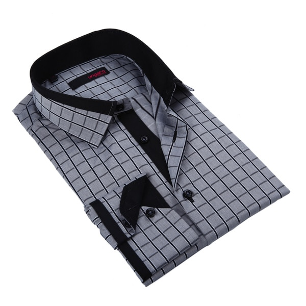 Ungaro Mens Checkered Black/ Grey Cotton Dress Shirt