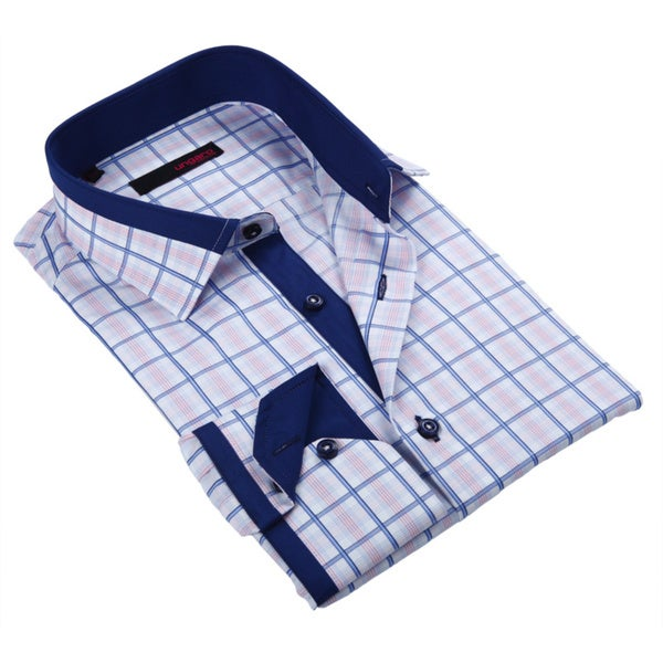 Ungaro Mens Checkered Blue White/ Pink Cotton Dress Shirt