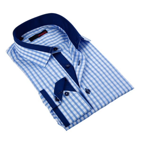 Ungaro Mens Gingham Blue/ White Cotton Dress Shirt
