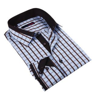 Ungaro Mens Checkered Blue/ Brown Cotton Dress Shirt