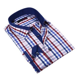 Ungaro Mens Plaid Blue Burgundy/ White Cotton Dress Shirt