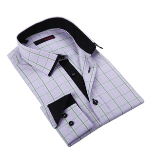 Ungaro Mens Plaid Pink/ Black Cotton Dress Shirt