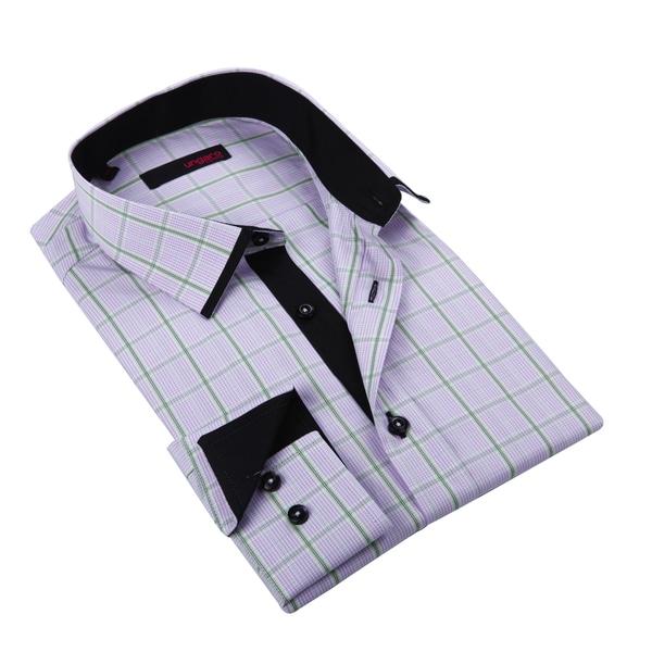 Ungaro Mens Plaid Pink/ Black Cotton Dress Shirt