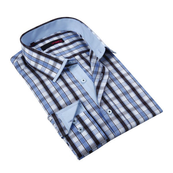 Ungaro Mens Plaid Blue Cotton Button Front Dress Shirt