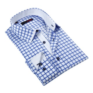 Ungaro Mens Plaid Blue Cotton Button Dress Shirt