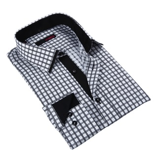 Ungaro Mens Plaid Black/ White Cotton Button Front Dress Shirt