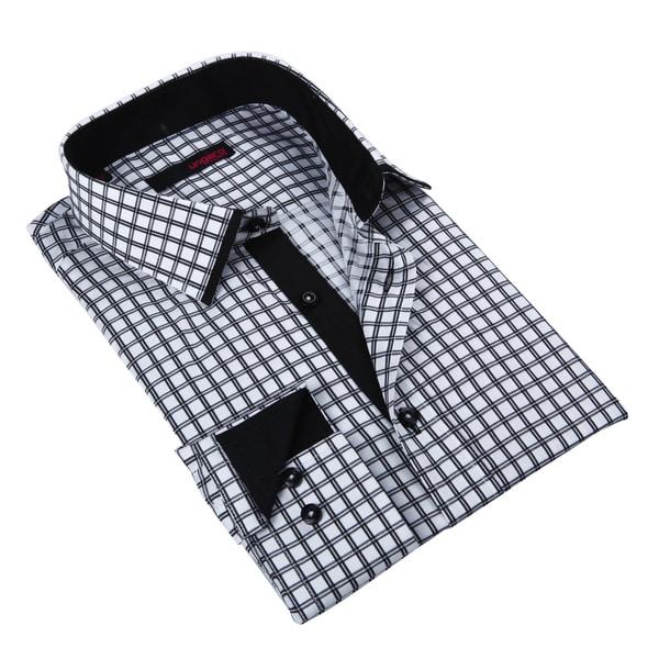 Ungaro Mens Plaid Black/ White Cotton Button Front Dress Shirt