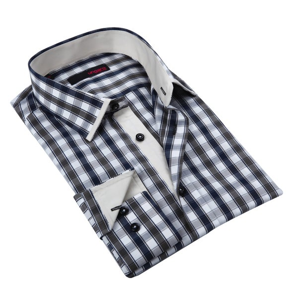 Ungaro Mens Plaid Black Brown/ White Cotton Dress Shirt