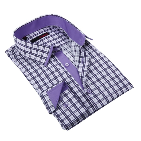 Ungaro Mens Plaid Purple/ White Cotton Dress Shirt