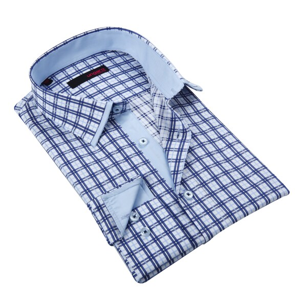 Ungaro Mens Blue Cotton Dress Shirt