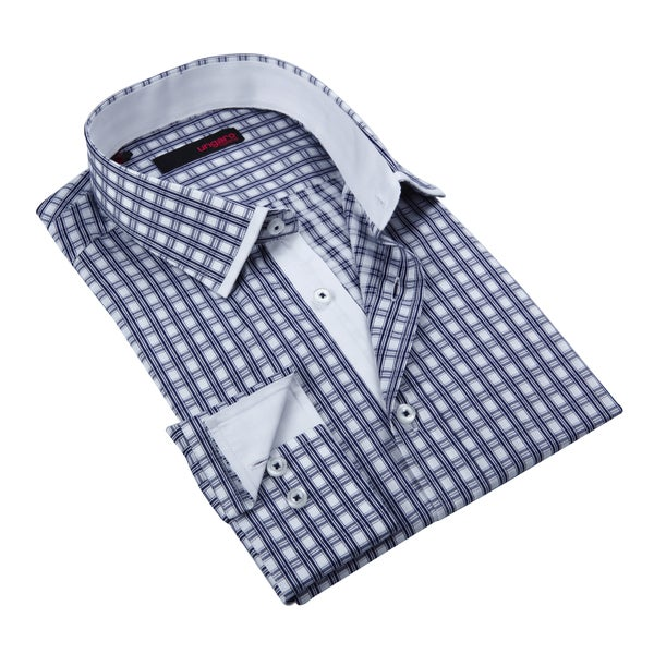 Ungaro Mens Plaid Navy Cotton Dress Shirt