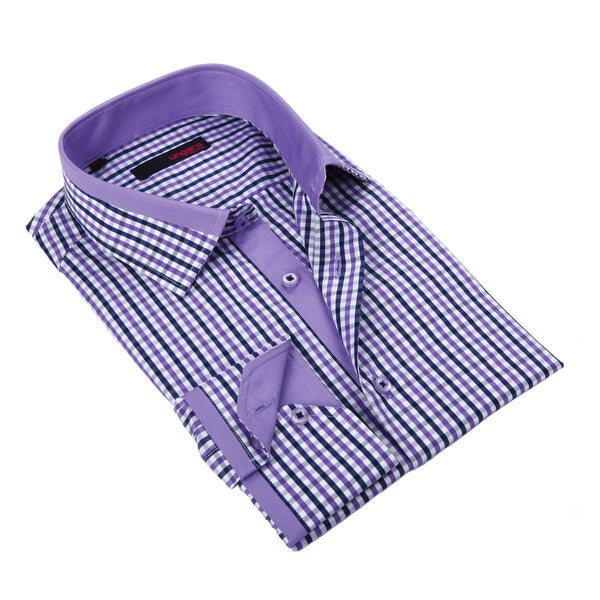 Ungaro Mens Gingham Purple/ White Cotton Dress Shirt