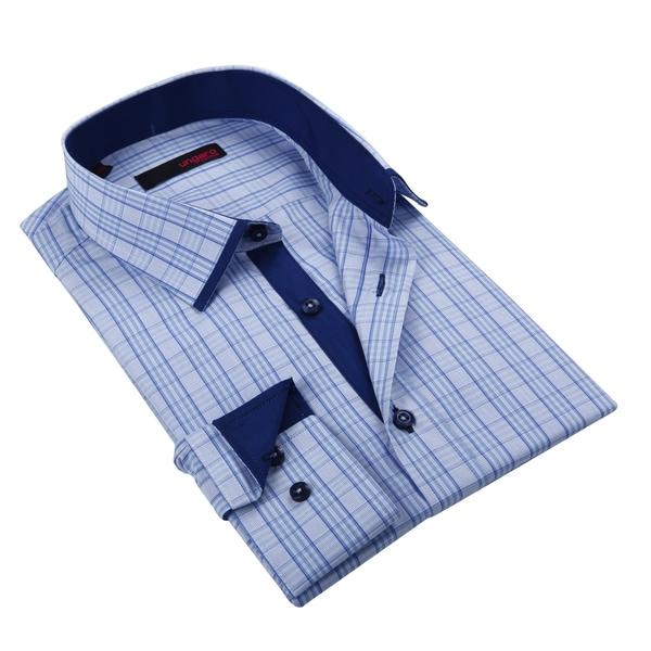 Ungaro Mens Plaid Blue/ White Cotton Button Front Dress Shirt