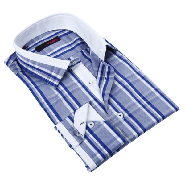 Ungaro Mens Plaid Blue/ White Cotton Dress Shirt