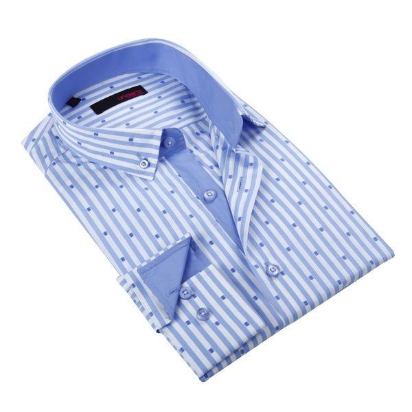 Ungaro Mens Stripe Blue Cotton Button Front Dress Shirt