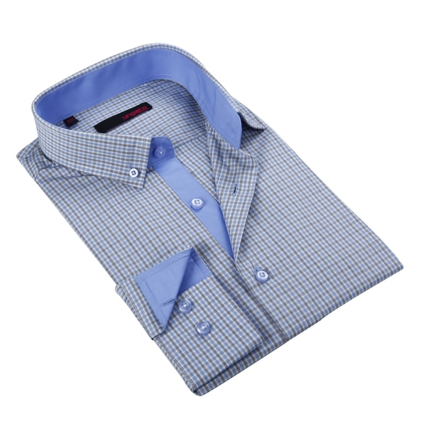 Ungaro Mens Checkered Blue Cotton Dress Shirt