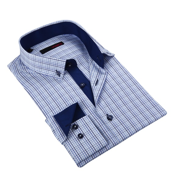 Ungaro Mens Plaid Blue Cotton Dress Shirt