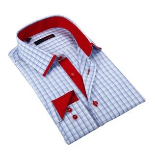 Ungaro Mens Checkered Blue Red/ White Cotton Dress Shirt