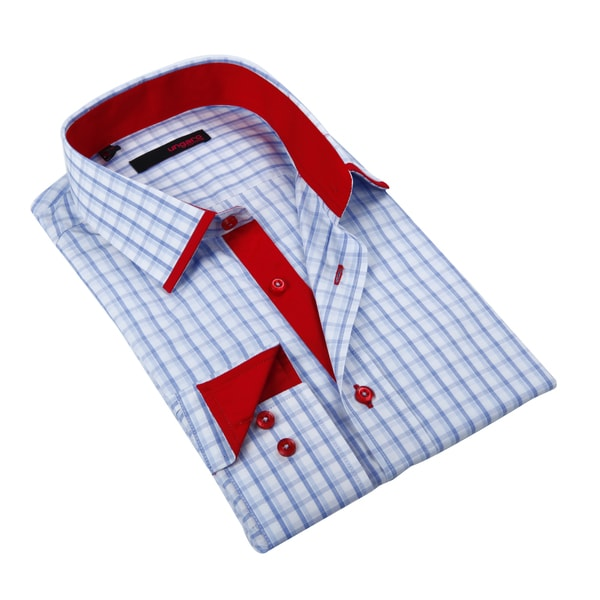 Ungaro Mens Checkered Blue Red/ White Cotton Dress Shirt