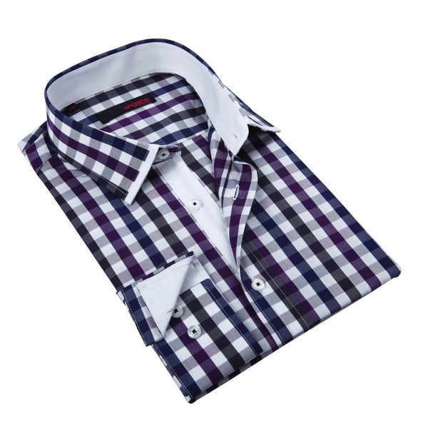 Ungaro Mens Checkered Blue/ Purple Cotton Dress Shirt