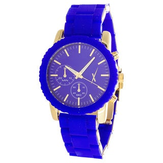 Xtreme Women's Gold Case and 2 Eyes on Dial with Blue Rubber Strap Watch