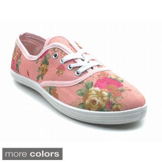 """Blue Womens """"Riley Flower"""" Fabric Sneakers"""