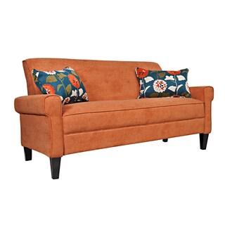 Portfolio Xandra Orange Velvet Sofa
